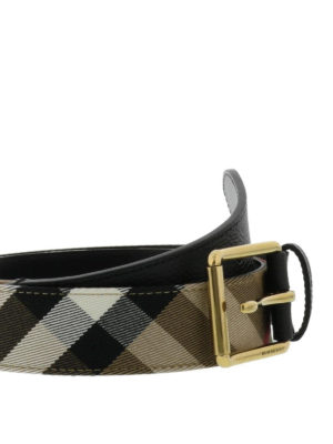 BURBERRY: cinture online - Cintura in House check e pelle
