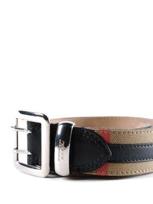 BURBERRY: cinture online - Cintura in cotone check e pelle