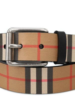 BURBERRY: cinture online - Cintura Mark35 in pelle nera Vintage check