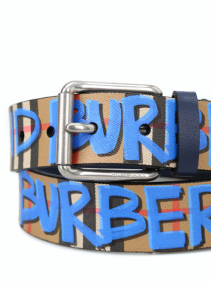 BURBERRY: cinture online - Cintura in pelle con Vintage check e graffiti