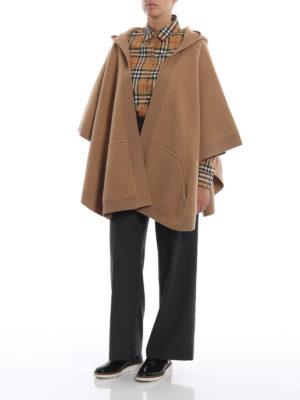 BURBERRY: Mantelle e poncho online - Poncho Carla in lana e cashmere con cappuccio