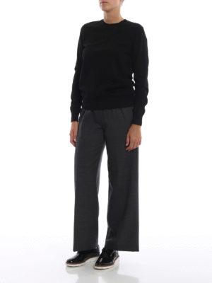 BURBERRY: maglia collo rotondo online - Pull girocollo in leggera lana merino nera
