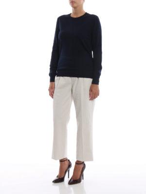 BURBERRY: maglia collo rotondo online - Pull girocollo in leggera lana merino navy