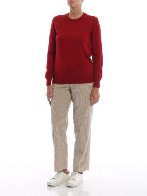 BURBERRY: maglia collo rotondo online - Pull girocollo in leggera lana merino rossa