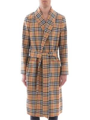 BURBERRY: cappotti al ginocchio online - Cappotto a vestaglia in lana check