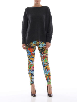 BURBERRY: leggings online - Leggings Mania in jersey a quadri e graffiti