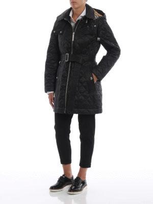 BURBERRY: cappotti imbottiti online - Piumino nero Baughton con cappuccio