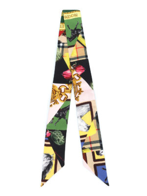 BURBERRY: sciarpe e foulard online - Sciarpa sottile in seta stampa patchwork