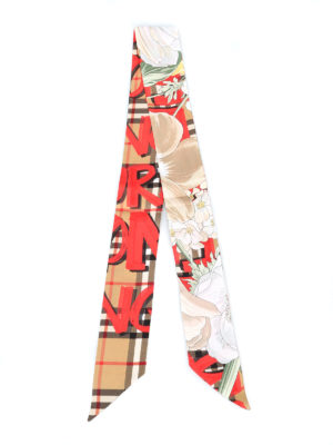 BURBERRY: sciarpe e foulard online - Sciarpa sottile in seta tartan con fiori