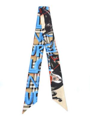 BURBERRY: sciarpe e foulard online - Sciarpa sottile in seta tartan con cavalli
