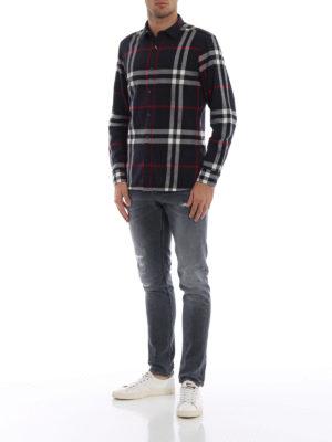 BURBERRY: camicie online - Camicia Salwick blu scuro a quadri
