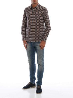 BURBERRY: camicie online - Camicia Strental blu con motivo check