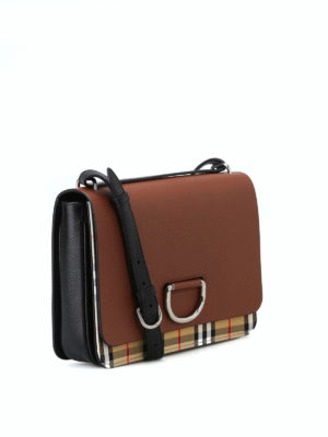 BURBERRY: borse a spalla online - Borsa D Ring media in pelle e tessuto Check