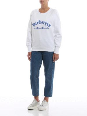 BURBERRY: Felpe e maglie online - Felpa girocollo Battarni in cotone bianco