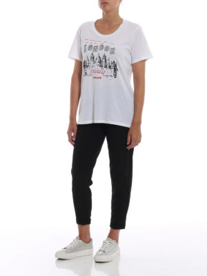 BURBERRY: t-shirt online - T-shirt con stampa London Icons