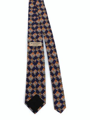 BURBERRY: cravatte e papillion online - Cravatta Manston check e cavaliere equestre