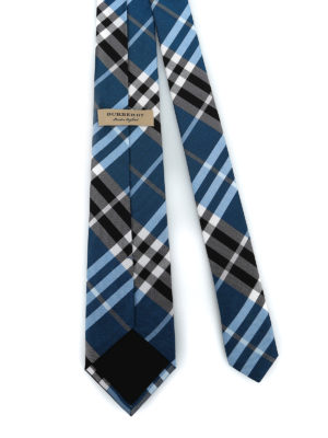 BURBERRY: cravatte e papillion online - Cravatta Manston in seta check cobalto
