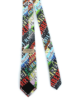 BURBERRY: cravatte e papillion online - Cravatta Stanfield con logo multicolor