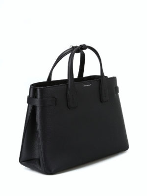BURBERRY: shopper online - Borsa media Banner in pelle nera