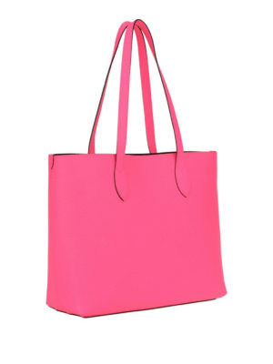 BURBERRY: shopper online - Shopper neon con logo goffrato