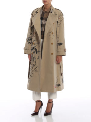 BURBERRY: cappotti trench online - Trench in cotone con stampa disegni