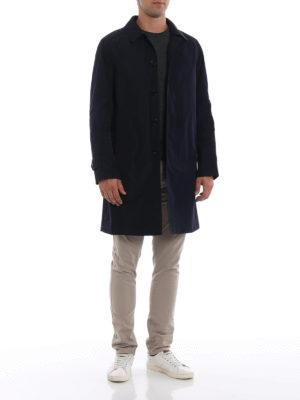 BURBERRY: cappotti trench online - Trench blu Hampstead con interno removibile