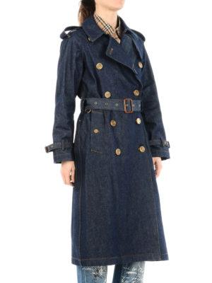 BURBERRY: cappotti trench online - Trench al ginocchio in denim