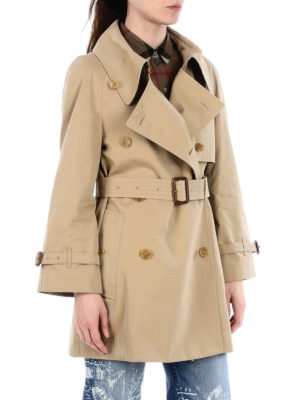 BURBERRY: cappotti trench online - Trench in cotone con colletto over