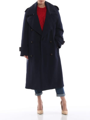 BURBERRY: cappotti trench online - Trench over blu scuro Regina in lana