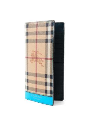 BURBERRY: portafogli online - Portafoglio in check e pelle fluo