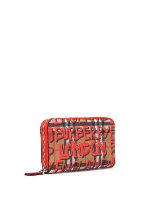 BURBERRY: portafogli online - Portafoglio zip around tartan con graffiti
