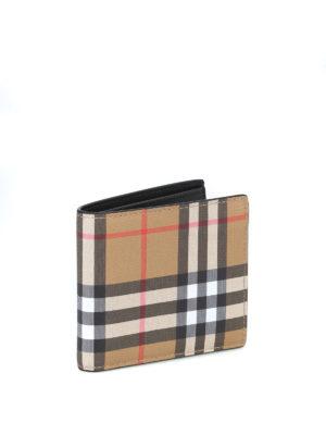 BURBERRY: portafogli online - Portafoglio bifold in pelle Vintage check