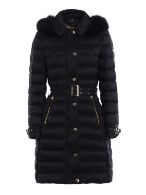 Burberry: padded coats - Ashmoore fur trim padded nylon coat