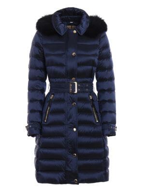 Burberry: padded coats - Ashmoore fur trim padded nylon coat