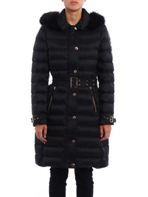Burberry: padded coats online - Ashmoore fur trim padded nylon coat