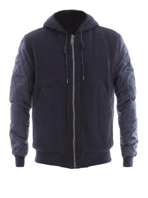 Burberry: padded jackets - Reversible nylon and cotton hoodie