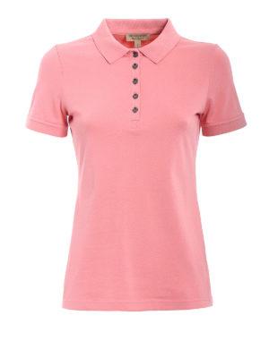 Burberry: polo shirts - Carnation pink cotton polo shirt