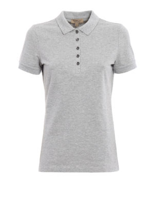 Burberry: polo shirts - Grey melange cotton polo shirt