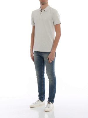 Burberry: polo shirts online - Oxford beige cotton polo shirt