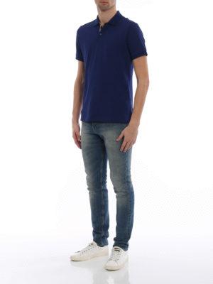 Burberry: polo shirts online - Oxford blue cotton polo shirt