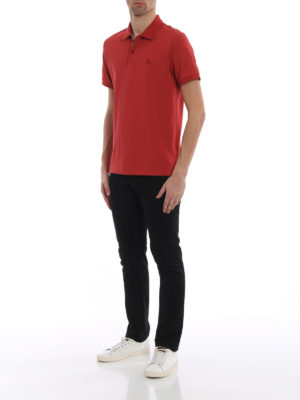 Burberry: polo shirts online - Oxford red cotton polo shirt