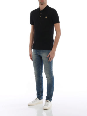 Burberry: polo shirts online - Talsworth black cotton polo shirt