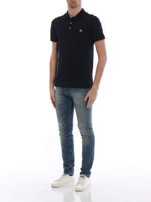 Burberry: polo shirts online - Talsworth navy cotton polo shirt