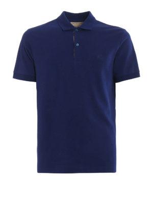 Burberry: polo shirts - Oxford blue cotton polo shirt