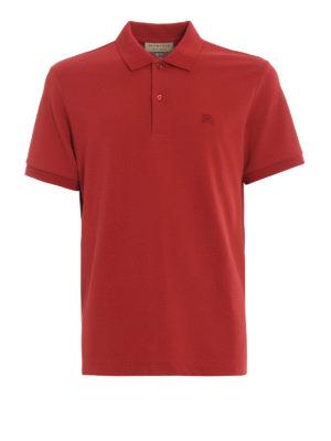 BURBERRY: polo - Polo Oxford in cotone piqué rosso