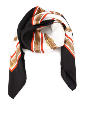 BURBERRY: scarves - Archive motif patterned silk scarf