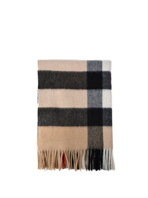 Burberry: scarves - Beige tartan cashmere Bandana