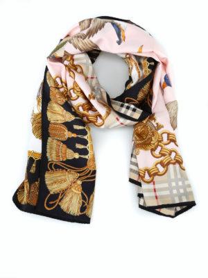 BURBERRY: sciarpe e foulard - Sciarpa a collage Chain Duck in twill di seta