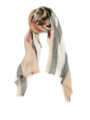Burberry: scarves - Check linen scarf