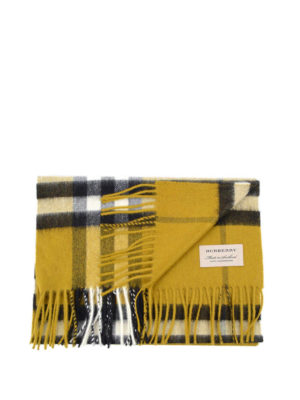 Burberry: scarves - Check patterned cashmere scarf
